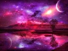 landscape backgrounds | Fantasy - Landscape - Moon - Celestial - Lake - Purple Wallpaper