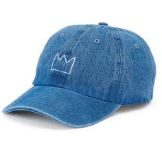 Women's SO® Crown Denim Baseball Cap (€10) ❤ liked on Polyvore featuring accessories, hats, headwear, dark blue, ball cap, embroidered ball caps, baseball caps, denim cap and adjustable baseball hats