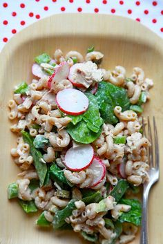 Tuna Pasta Salad with Spinach and Radishes. I don't really like radishes but this could make me change my mind.