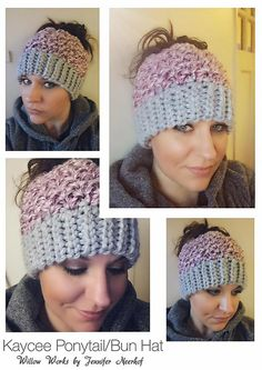 This is a PDF crochet pattern for a beanie with a hole in the top to allow for a ponytail or messy bun. The pattern is worked from the bottom up with a slip stitch ribbing (you can substitute sc if you like) which creates a fabulous and stretchy knit look. There is a video link tutorial included. The hole uses an elastic hair tie to stretch over a bun but still stay snug for a ponytail. Keep your hair up and out of the way but still stay warm! The pattern also includes instructions to finish…