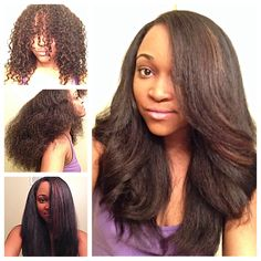 Natural Hair - the process! Curly, blow out, flat ironed and curled!