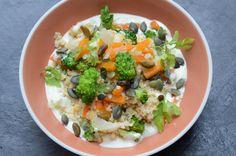 Céréales, légumes, crème de roquefort