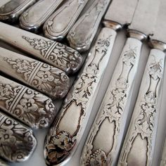 Ornate Silverplate Knives <3