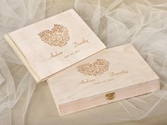 Set Laser Cut Guestbook & Engraved Box, Custom Wood Guestbook, Wooden Wedding Guest Book, Engraved PhotoAlbum