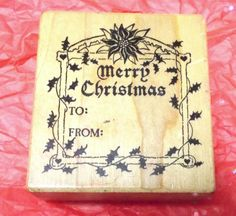 PSX To From rubber stamp wood Mounted Vintage 80s Christmas Holidays Poinsettia #PSX #TagsToFromwords