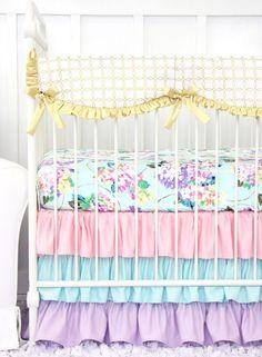 Holly's Hydrangea Ruffle Baby Bedding   Pastel Pink Blue Lavender Crib Rail Cover