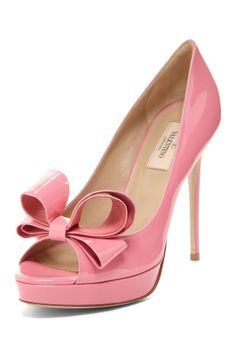 Designer Shoe Shop  Valentino Peep Toe Patent Bow Pump