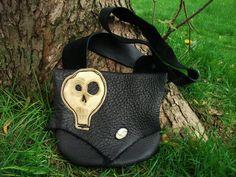 Medium Kooky Spooky Black Leather Skull Purse / Handmade Bag Tote Pouch Sack Bullhide DOTD Day Of The Dead Goth Steampunk Rocker Halloween on Etsy, $85.00