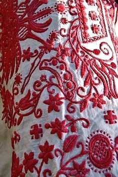 redwork encrusted linen