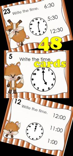 48 of the MOST ADORABLE task cards are waiting to help your students review telling time to the hour and half hour. I have provided 2 versions to help with differentiation. You get one set with 3 answer choices and another set with no answer choices. I have also included a student response sheet.  $