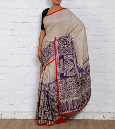 Tussar & Purple Silk Saree - Weavers Studio