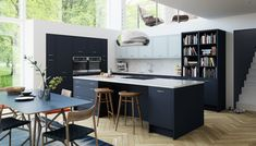 The Newbury Midnight Kitchen is a gorgeously dark kitchen that will add a touch of drama to any home. View this modern kitchen style today. Blue Shaker Kitchen, Dark Grey Kitchen, Kitchen And Bath, New Kitchen, Kitchen Layout, Kitchen Living, Design Kitchen, Awesome Kitchen, Kitchen Tools