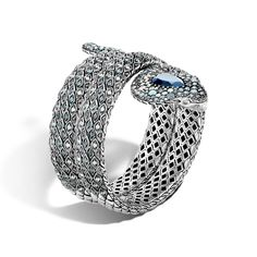 Legends Cobra Double Coil Bracelet in Silver with Black Onyx and Swiss Blue Topaz #JohnHardy #MyJohnHardy