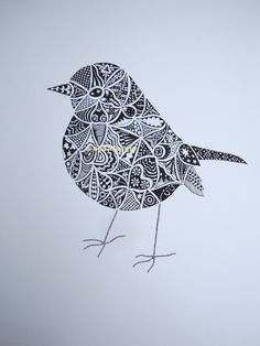 bonne idée pour un zentangle Hand drawn Robin Art Screenprint. £60,00, via Etsy.