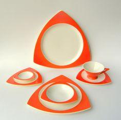 Create Your Own Atomic Art Deco Dinnerware Set: Salem Streamline / Tricorne in Mandarin Orange - Custom Wedding Orders Available. $75.00, via Etsy.