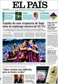 Los Titulares y Portadas de Noticias Destacadas Españolas del 27 de Octubre de 2013 del Diario El País ¿Que le pareció esta Portada de este Diario Español?
