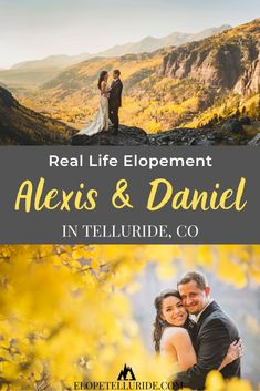 Real Life Colorado Elopement | Alexis & Daniel in Telluride. This Denver bride & groom had a simple elopement wedding in the Rocky Mountains. The Elope Telluride team helped with planning the day so they could be 100% stress free to enjoy their ceremony, followed by pictures at epic mountain locations! Ask us about our packages in Telluride, Ouray or Ridgway during summer, fall and winter. Get photography inspiration for your dress or attire, plus ideas for CO mountain destinations.