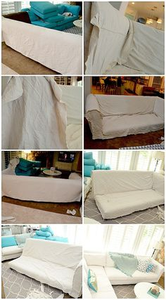 dropcloth slipcover DIY tutorial I'm doing this with our couches since I can't find slipcovers to fit!