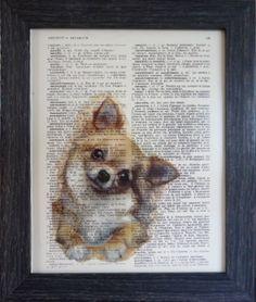 Art Chihuahua print chihuahua art on an vintage french dictionary print dictionary art vintage for your wall 8x10 (272). $8.95, via Etsy.