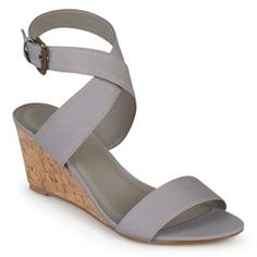 2fe33083d Journee Collection Women s  Kaylee  Canvas Ankle Strap Wedges