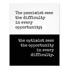 Optimist Quote, Inspirational words poster