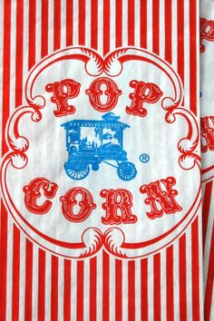Vintage Style Wagon Popcorn Bags - Red and White Stripes - Gusseted 3 1/2 x 2 1/4 x 7 3/4 Inches - set of 75
