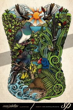 Five full days work and it's complete! A full back piece tattoo I designed for Caitlin Smith. She already had two fantails tattooed that I designed and wanted me to design the rest of her back tattoo around them. Copyright www.samphillips.co.nz