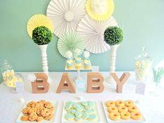 Gender Neutral Baby Shower Mint and Yellow Baby Shower Guest Dessert Feature Baby Shower Verde, Mint Baby Shower, Gender Neutral Baby Shower, Baby Boy Shower, Baby Shower Gifts, Baby Gifts, Baby Girl Shower Themes, Girl Themes, Baby Shower Desserts