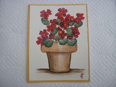 Painted Geranium Card Hand Painted Cards by LisasPaintedCrafts
