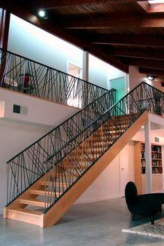 67 Ideas For Stairs Design Iron Floors Modern Stair Railing, Stair Railing Design, Home Stairs Design, Staircase Railings, Modern Stairs, Interior Stairs, Stairways, Railing Ideas, Metal Barn Homes