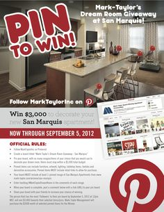 SAN MARQUIS: Pin items/images that you would use to design your dream apartment at #SanMarquis! Get the most followers to your board and win $3,000 towards the purchase of those items. For complete contest rules click here: http://www.respage.com/blog/mark-taylor/mark-taylor-blog/2012/07/10/win-3000-to-decorate-your-new-apartment-at-san-marquis/