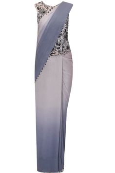 Ombre crystal edging sari with embroidered corset available only at Pernia's Pop-Up Shop.