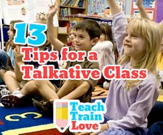 Do you have a chatty class? Check out these 13 Tips for a Talkative Class! Classroom Management Strategies, Classroom Procedures, Behaviour Management, Teaching Strategies, Kindergarten Classroom, Music Classroom, School Classroom, Classroom Ideas, Classroom Organization