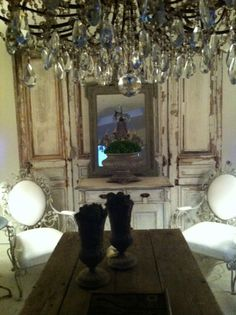 Love the panels & crystal. Atelier de Campagne