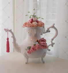 Handmade Teapot Centerpiece shabby cottage chic white pink handmade clay roses pearls crystal bling