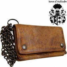Biker Wallet Wallet Men's Dark Leather Biker Wallet by JooJoobs Mens Wallet With Chain, Wallet Chain, Leather Chain, Leather Men, Leather Wallet, Silver Accessories, Chains For Men, Distressed Leather, Card Wallet