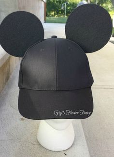 e145f51f799 Mickey Mouse Inspired Ears - Black Baseball Cap for guys boys - Add name  optional