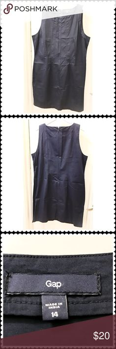 """🆕Gap navy cotton dress. Gap sleeveless navy cotton dress. Size 14. I don't think I ever worn this but there is no tag. Stored folded. No lining. Back zipper opening. Length at the back center is about 36"""". GAP Dresses"""