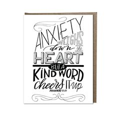 """Kind Words Cheer the Heart"" card"