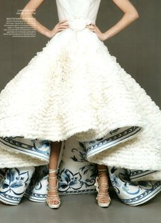 Christian Dior Haute Couture Wedding Dress with Blue Floral Under Print
