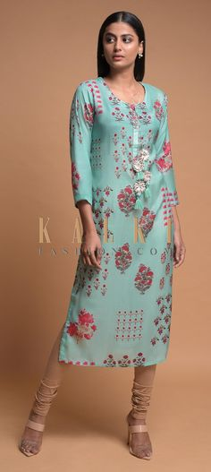 Buy Online from the link below. We ship worldwide (Free Shipping over US$100)  Click Anywhere to Tag Tiffany Blue Kurti In Cotton Blend With Printed Floral Motifs Online - Kalki Fashion Tiffany blue kurti in cotton blend with floral printed motifs.Enhanced with gotta lace on the placket and tassel dori on the neckline.Designed with round neckline and 3/4th sleeves.