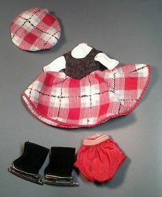 """VERY HTF!! Vintage Betsy McCall 1957 """"On The Ice"""" Outfit for 8"""" Doll ~ MUST SEE~"""