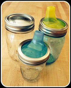 [Yes, as they learn to hold cups, added bonus of potential glass shards. dumb] Mason Jar Turned Sippy Cup #baby #kid #hack