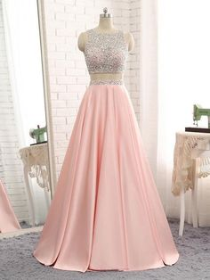 Sparkly Beaded 2 Pieces Prom Dress 2019 Custom Made Satin Beadings Long Pink School Dance Dresses Fahion Two Pieces Evening Party Dresses Source by ealdwell dresses party Prom Dresses Two Piece, Cute Prom Dresses, Backless Prom Dresses, Grad Dresses, Pretty Dresses, Beautiful Dresses, Formal Dresses, Dress Piece, Elegant Dresses
