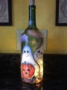 1.5 Ltr Handpainted Lighted Wine Bottle /Halloween by ArteeVita, $39.00