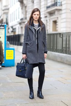 Grey coat, striped shirt, black leggings, hoodie and booties