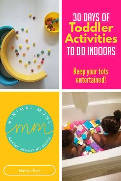 Indoor toddler activities for 2 year olds and 3 year olds to do at home. Easy, fun, and educational. #toddleractivities
