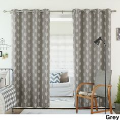 Aurora Home Arrow Room Darkening Blackout Grommet 84-inch Curtain... ($65) ❤ liked on Polyvore featuring home, home decor, window treatments, curtains, grey, grey grommet curtain panels, gray window treatments, grey window panels, grey curtains and gray grommet curtain panels