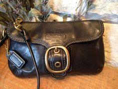 COACH Bleecker Black Leather Vintage Tattersall Clutch Wristlet 40887 #Coach #Clutch