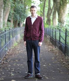 What I Wore Today - Mango Cardigan, PRPS Jeans, Jaeger Shirt, Ted Baker Brogues